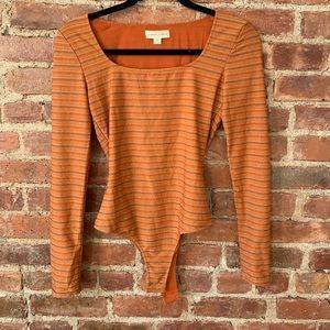 Honey Punch Orange Striped Long-Sleeve Bodysuit